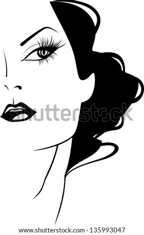 Petite girl with beautiful hair - stock vector