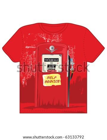 Petrol T-Shirt - stock vector