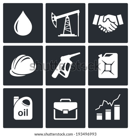Petroleum industry icon set - stock vector