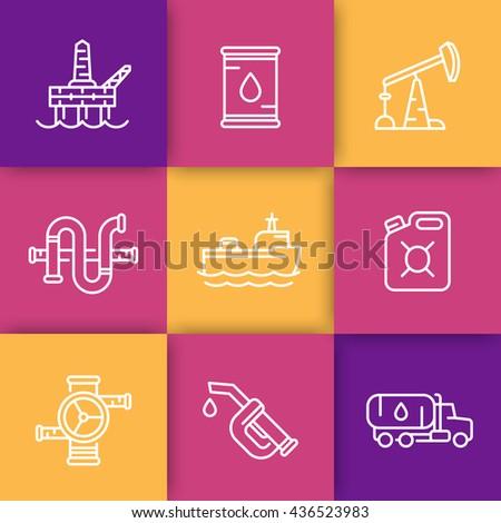 Petroleum industry line icons, barrel, oil and gas production platform, rig, derrick, pipeline, tanker ship, gasoline nozzle, petrol can, vector illustration - stock vector