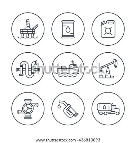 Petroleum industry line icons, oil rig, derrick, pipeline, barrel, drilling platform, oil tanker, petrol can, vector illustration - stock vector