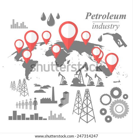 Petroleum industry vintage illustration vector design icon set - stock vector