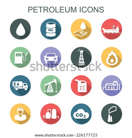 petroleum long shadow icons, flat vector icons - stock vector