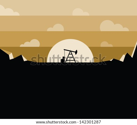Petroleum oil pump against sunset with free space for your text. Idea - Petroleum oil industry concept picture with a lot free space for your buisness text. Enjoy! - stock vector