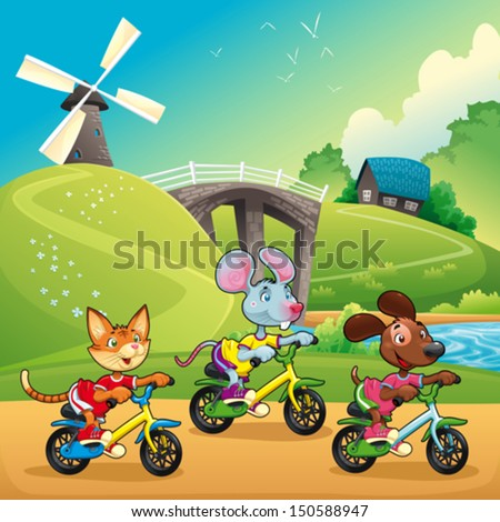 Pets are going for a ride in the countryside. Cartoon and vector illustration - stock vector