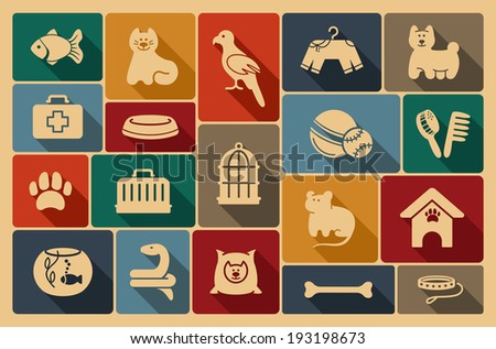 Pets care icon set - stock vector