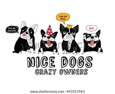 Pets French bulldog isolate white and fun sign. Color vector illustration. EPS8 - stock vector