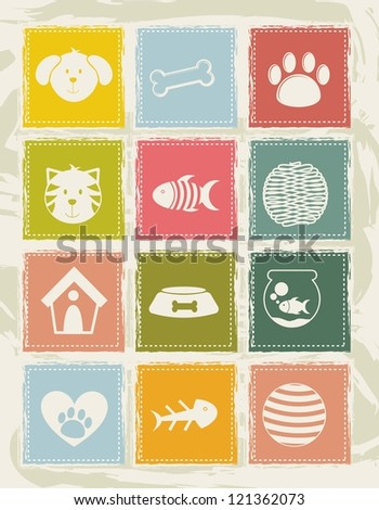 pets icons over grunge background. vector illustration - stock vector