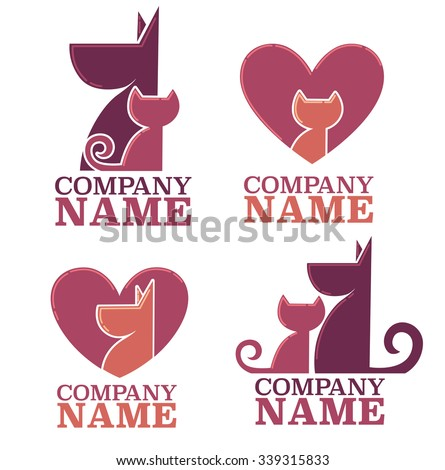 pets love and friendship, vector collection - stock vector