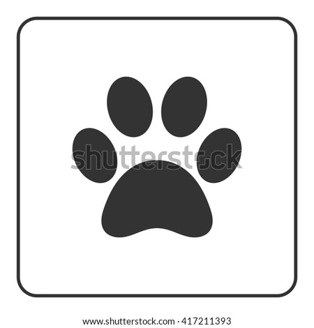 Pets paw icon. Animal sign. Black silhouette mark print isolated on white background. Symbol of dog, puppy or cat, kitten, kitty. Modern graphic design element. Flat concept label. Vector illustration - stock vector