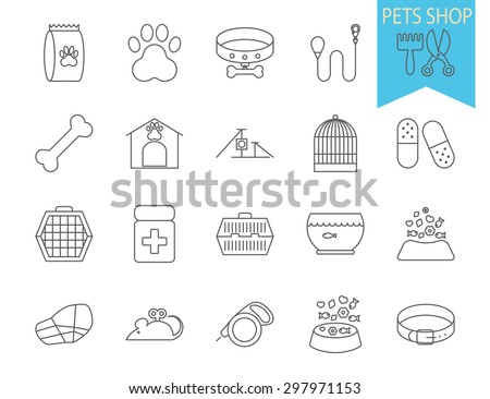 Pets shop icons. Thin line flat vector related icon set for web and mobile applications. It can be used as - logo, pictogram, icon, infographic element. Vector Illustration.  - stock vector