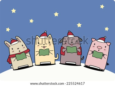 Pets singing a christmas carol vector cartoon illustration - stock vector