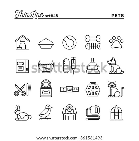 Pets, thin line icons set, vector illustration - stock vector