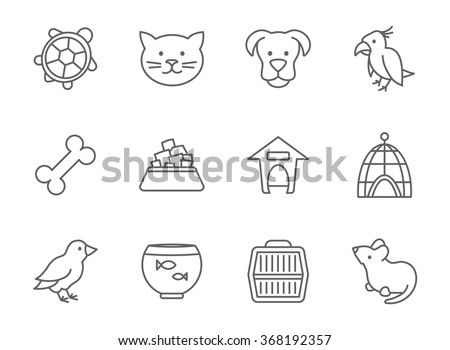 Pets vector icon set in line art style. Mouse and aquarium, food for pet, kennel and bone, parrot fish and bird outline illustration - stock vector