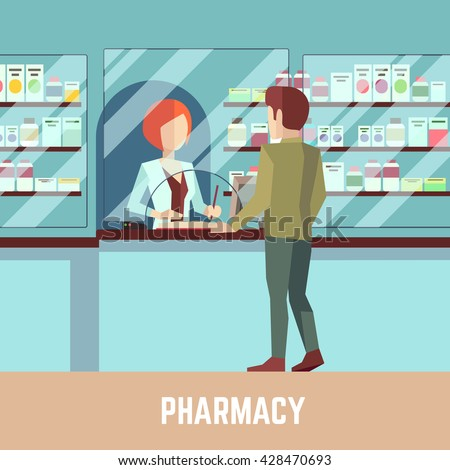 Pharmacy drugstore with pharmacist and customer. Health care concept background. Vector illustration  - stock vector