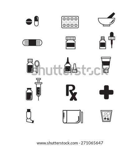 Pharmacy Icons and Medical icons set - stock vector