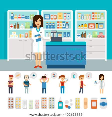 Pharmacy infographic elements and flat banner design. Vector pharmacy drugstore set design. Drugs icons: pills capsules and prescription bottles. Flat vector woman pharmacist and people with illnesses - stock vector