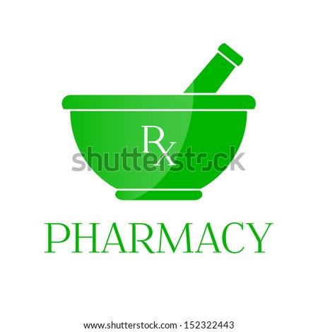 Pharmacy vector symbol - mortar in green color - stock vector