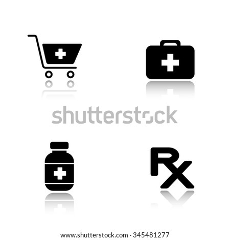 Pharmacy website drop shadow icons set. Drugstore shopping cart symbol with cross, medical chest, medicine pills box, prescription rx sign. Cast shadow logo concepts. Vector black illustrations - stock vector