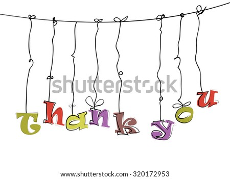 Phase Thank You hanging on the rope. - stock vector