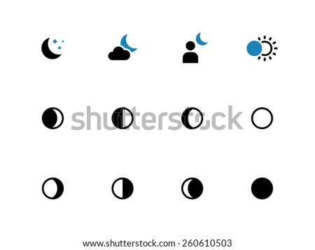 Phases of the moon duo tone icons on white background. Vector illustration. - stock vector