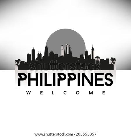 Philippines black skyline silhouette design, vector illustration. - stock vector