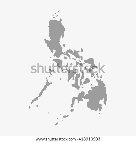 Philippines  map in gray on a white background - stock vector