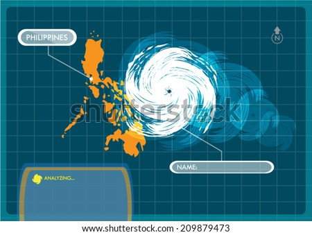 Philippines Map with Eye of Typhoon, Cyclone or Storm Vector - stock vector