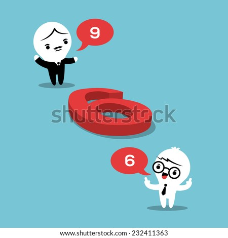 philosophy concept illustration with two businessmen arguing whether a number on the floor is a 6 or a 9 - stock vector
