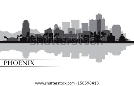 Phoenix city skyline silhouette background. Vector illustration - stock vector