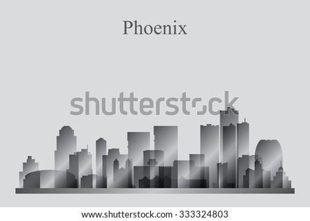 Phoenix city skyline silhouette in grayscale, vector illustration - stock vector