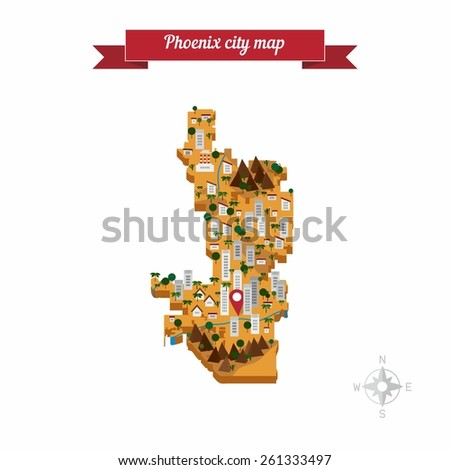 Phoenix city, United States of America, cartoon map. Flat style design - vector. - stock vector