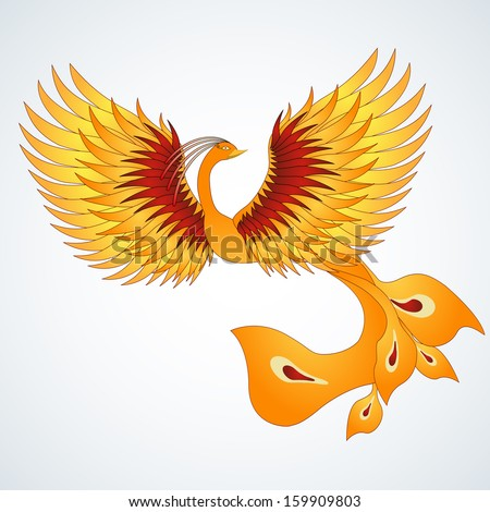 Phoenix with straighten wings. Abstract vector illustration. - stock vector