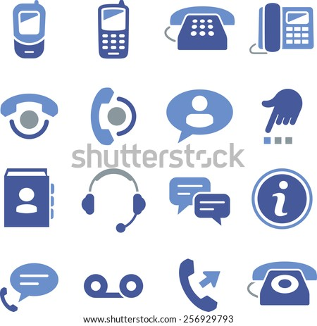 Phone and call center icons. - stock vector