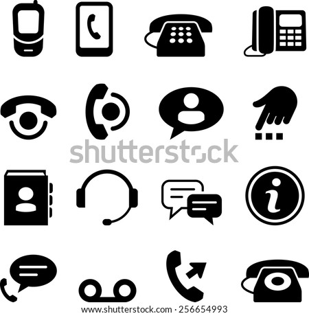 Phone and call center icons. Vector icons for digital and print projects. - stock vector