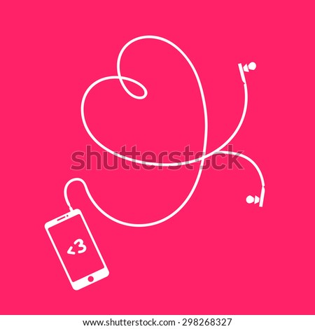 Phone and earphones with heart - stock vector