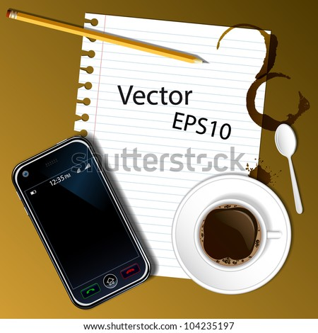 Phone and office supplies, laying on the table. Vector. - stock vector