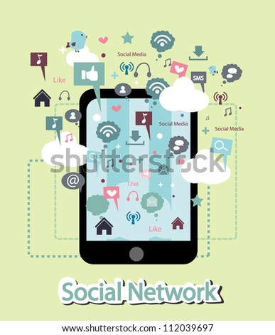 phone and social network facility - stock vector