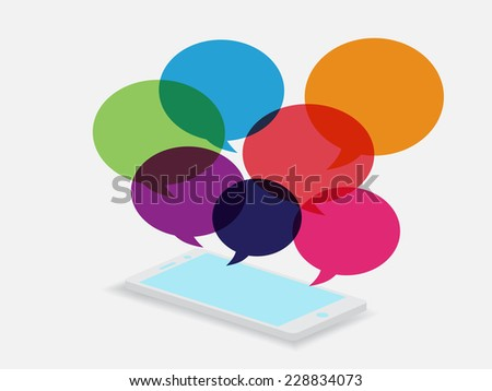 phone and  speech bubble - stock vector
