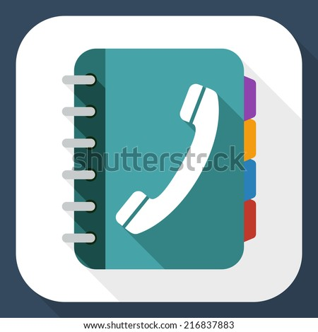 Phone book flat icon with long shadow - stock vector