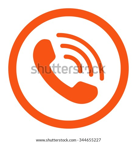 Phone Call vector icon. Style is flat rounded symbol, orange color, rounded angles, white background. - stock vector