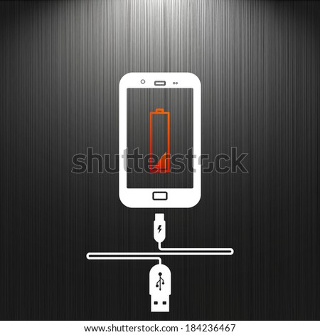 phone charging, flat icon isolated on a black background for your design, vector illustration - stock vector