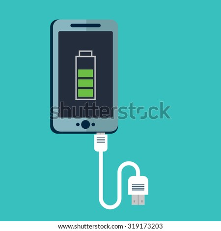 Phone charging, flat icon isolated on a red. Concept background design - stock vector