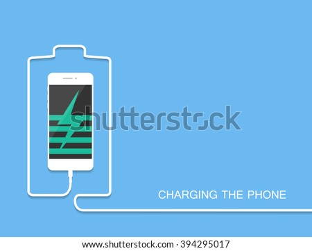 Phone charging with energy bank. Phone charging flat. Phone charging vector. Phone charging eps. Phone charging illustration. Phone charging web. Phone chargingabstract. Phone charging illustration - stock vector