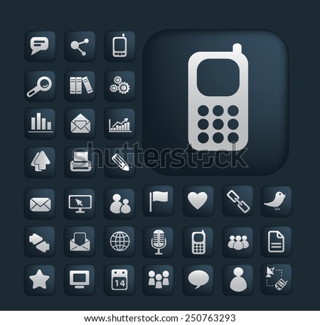 phone, communication, connection icons, signs, illustrations set, vector - stock vector