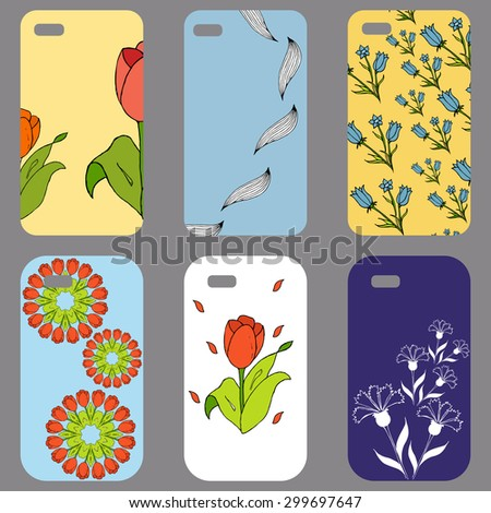 Phone cover collection with floral elements. . Vintage decorative elements. Hand drawn floral background.  - stock vector