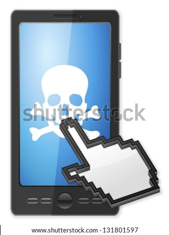 Phone, cursor and danger symbol on a white background. - stock vector