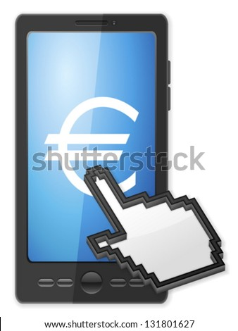 Phone, cursor and euro symbol on a white background. - stock vector