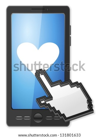 Phone, cursor and heart symbol on a white background. - stock vector