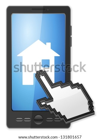 Phone, cursor and house symbol on a white background. - stock vector